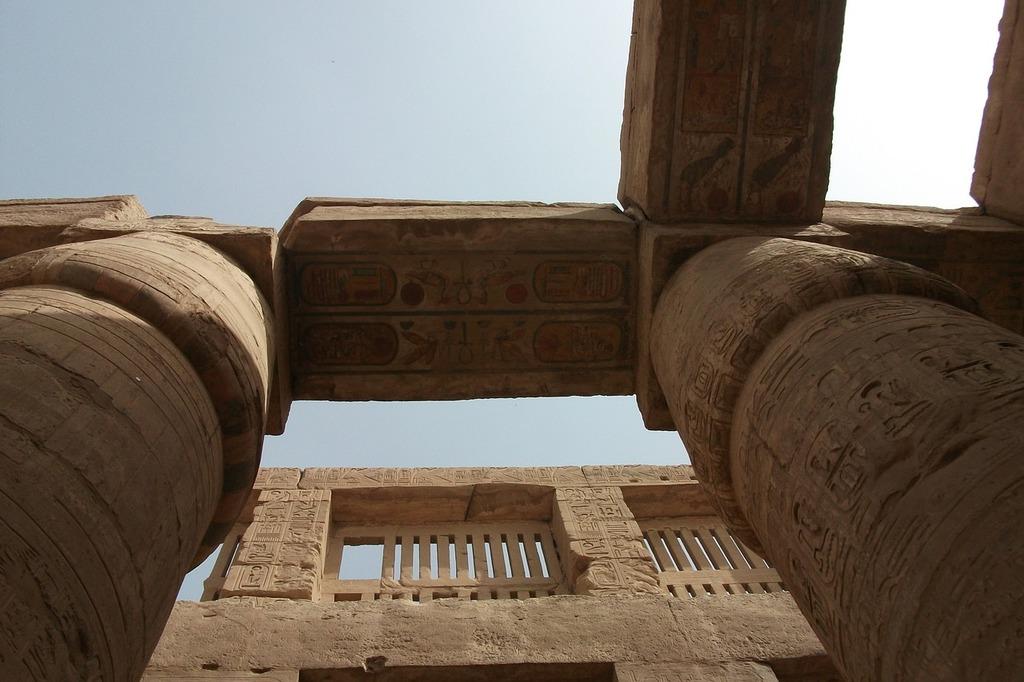 Columnar temple inscription egypt, architecture buildings.