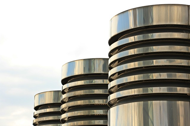 Columnar three pillars chrome, architecture buildings.