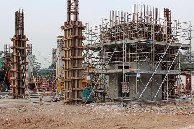 Construction building site, architecture buildings.