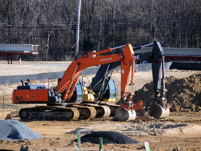 Construction equipment site, architecture buildings.