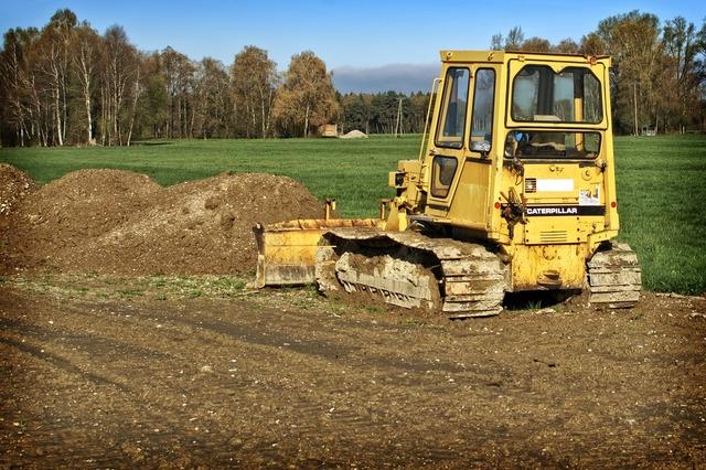Construction machine caterpillar bulldozer, industry craft.