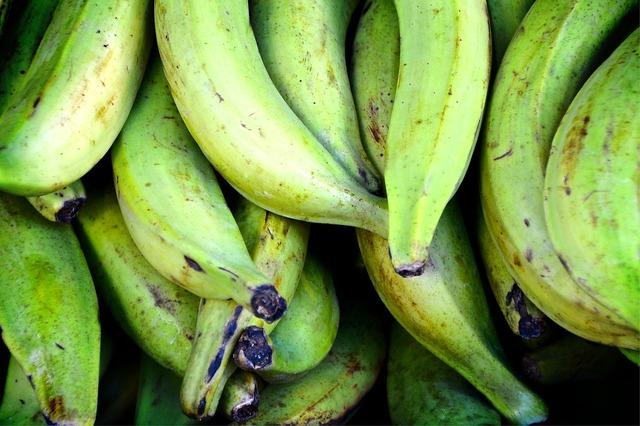 Cooking bananas bananas green, food drink.