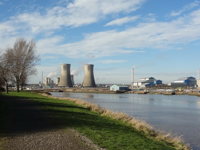 Cooling towers river industry, industry craft.