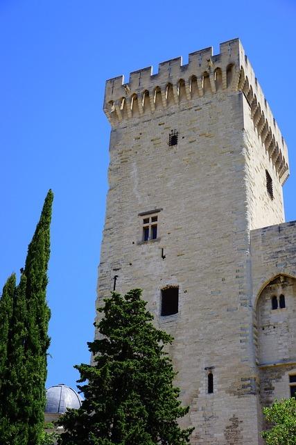 Corner tower defensive tower palais des papes, architecture buildings.