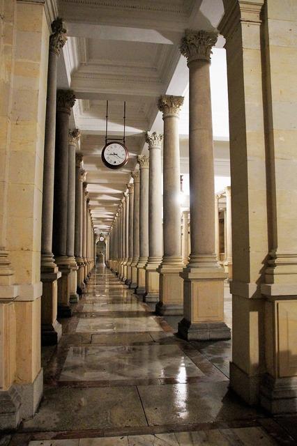 Corridor columns arcade, architecture buildings.