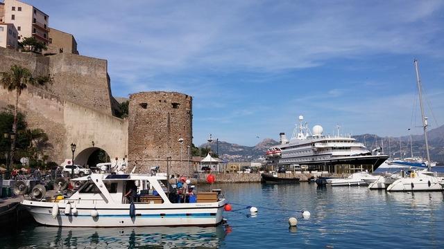 Corsica harbour entrance ship.