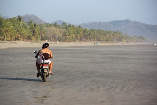 Costa rica beach motorcycle, travel vacation.