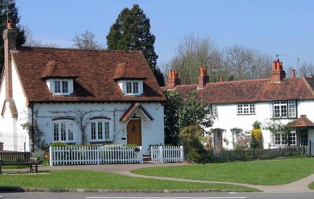 Cottage english village, architecture buildings.