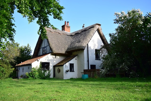 Cottage thatched house, architecture buildings.