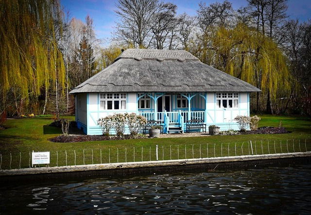 Cottage thatched roof canal, architecture buildings.
