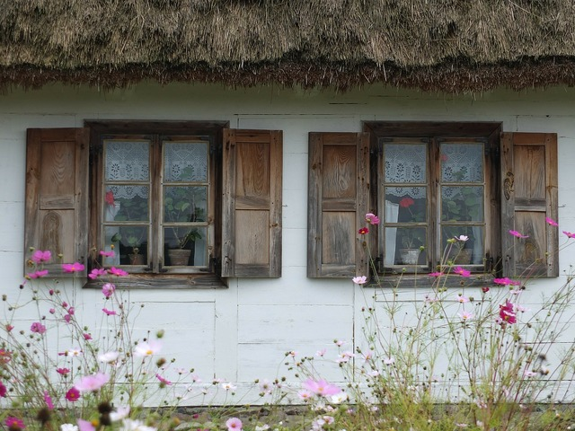 Cottage village thatched roof.