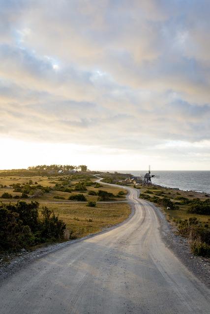Country road seaside road, transportation traffic.