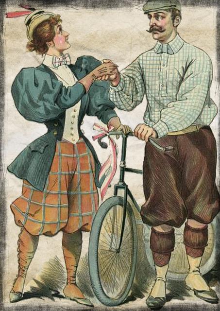Couple bicycle vintage, people.