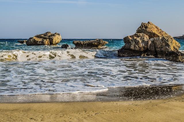 Cove sea waves, travel vacation.