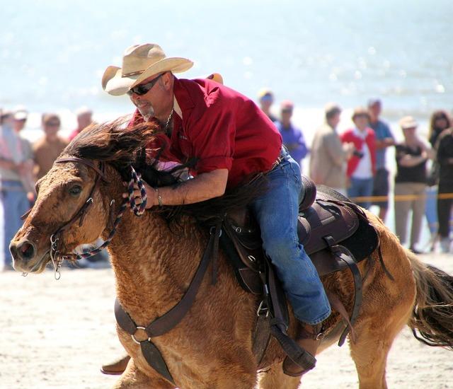 Cowboy horse beach, travel vacation.