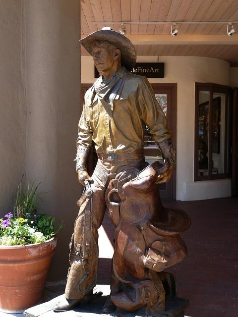 Cowboy statue metal.