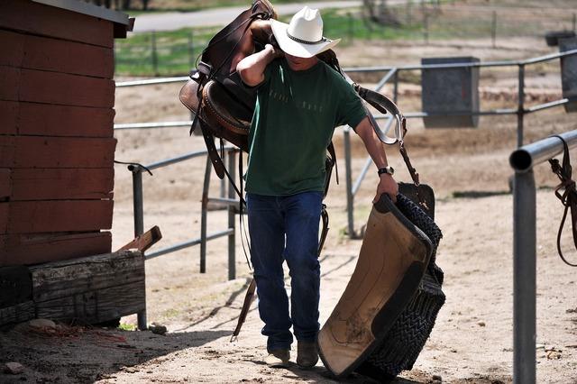 Cowboy western saddle, people.
