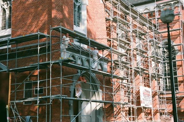 Craftsmen building scaffold, architecture buildings.