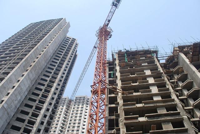 Crane buildings construction, architecture buildings.