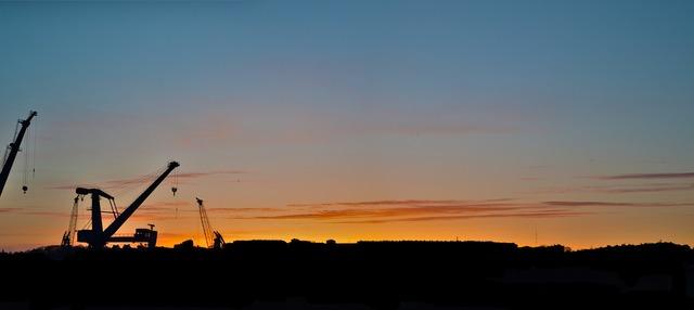 Crane sunset sky, travel vacation.