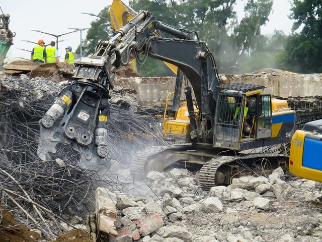 Crash demolition destroyed, architecture buildings.