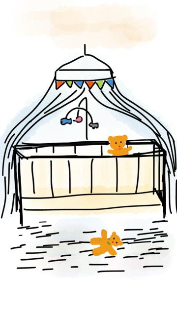 Crib bedding teddy bear, architecture buildings.