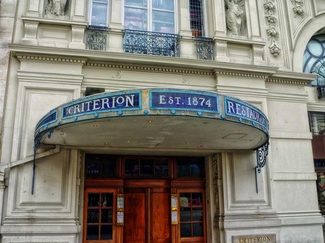 Criterion restaurant sign building, architecture buildings.