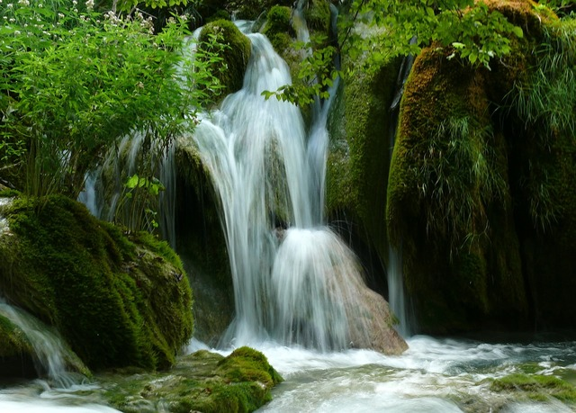 Croatia lake waterfall, nature landscapes.