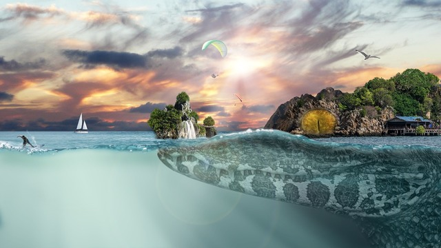 Crocodile sea islands, nature landscapes.