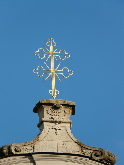 Cross double cross golden, religion.
