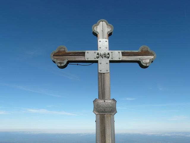 Cross summit cross inri, religion.