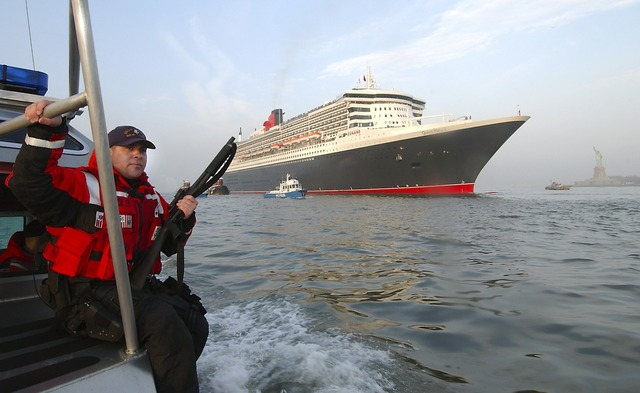 Cruise ship queen mary 2 coast guard security.