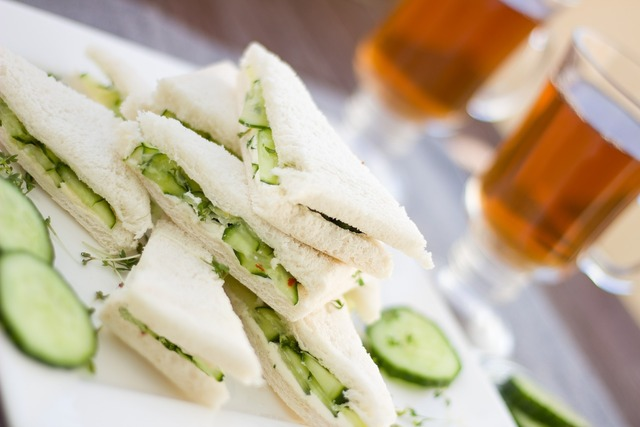 Cucumber sandwich snack, food drink.