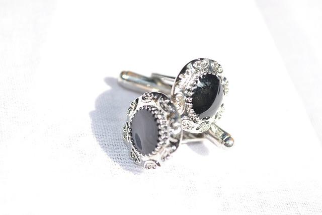 Cufflinks jewellery silver, business finance.