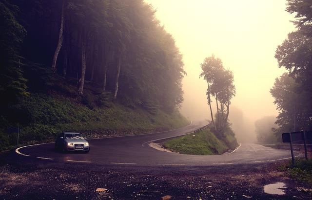 Curve cloudy road, transportation traffic.