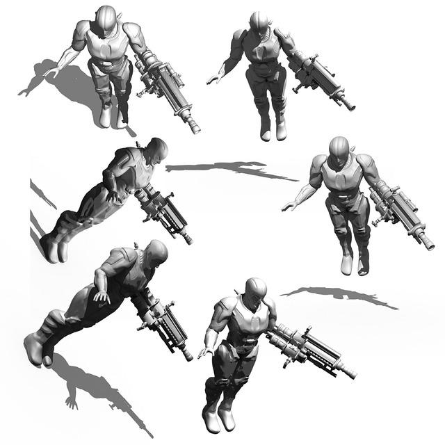 Cyborg bio mechanics render.