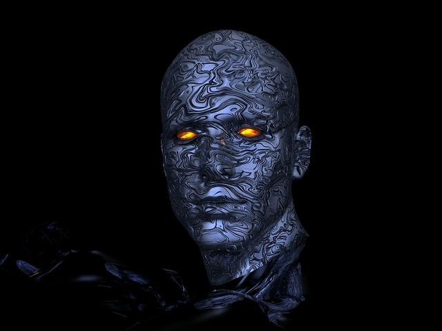 Cyborg robot head.