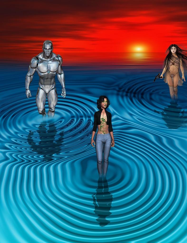 Cyborg robot sunset, travel vacation.