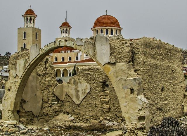 Cyprus pyla ruins, architecture buildings.