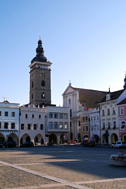 Czech budejovice black tower south bohemia, architecture buildings.