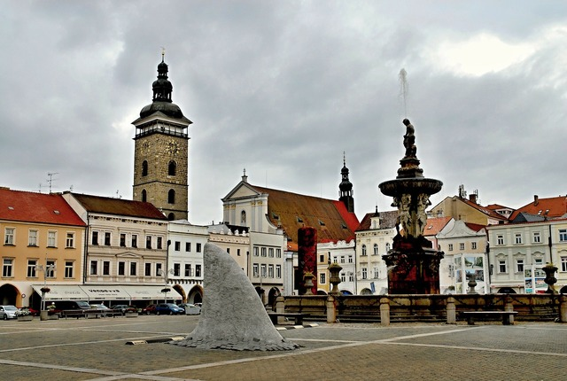 Czech budejovice square black tower.