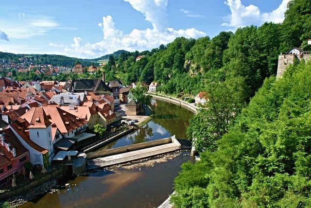 Czech krumlov view river, nature landscapes.
