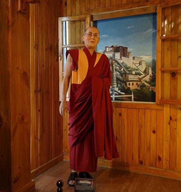 Dalai lama statue wax, religion.