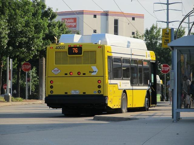 Dallas city bus public transportation, transportation traffic.