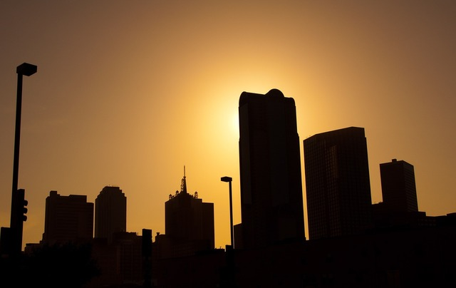 Dallas skyline silhouette, architecture buildings.