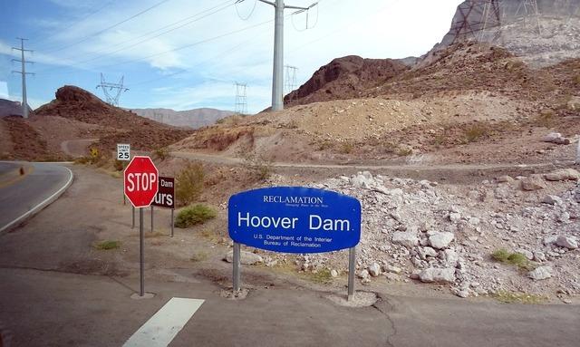 Dam site hoover dam colorado river, science technology.