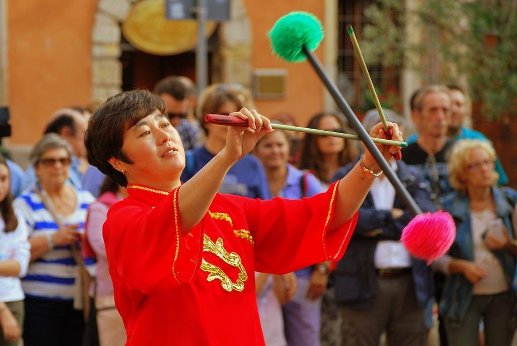 Dance sticks decorated, sports.
