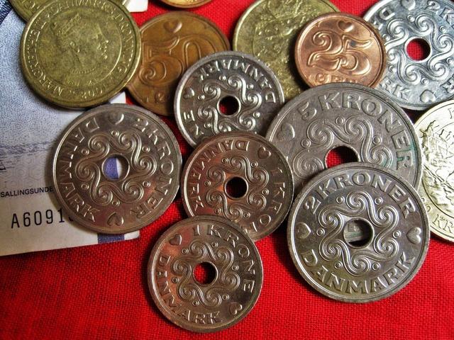 Danish coins danish kroner danish currency, business finance.