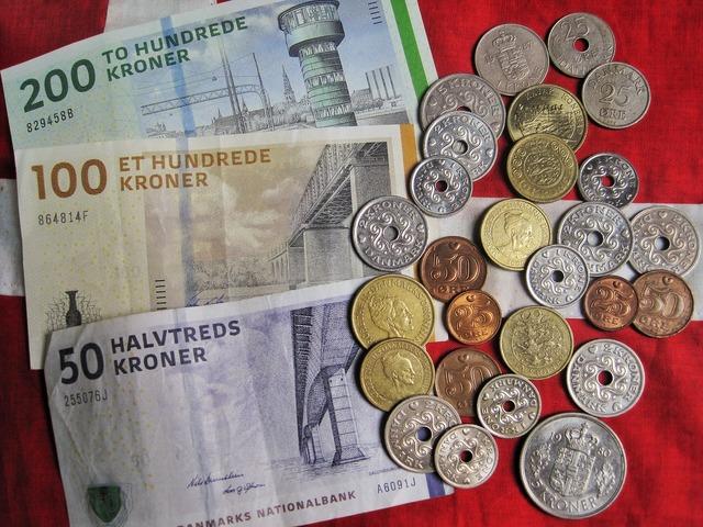 Danish currency danish kroner danish coins, business finance.