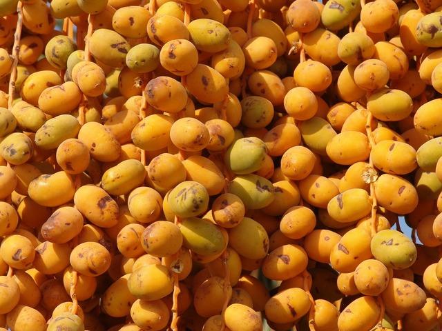 Dates fruit yellow, food drink.